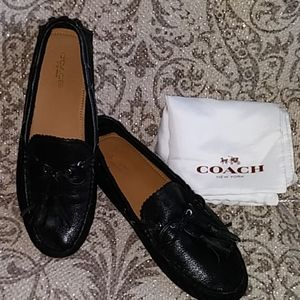 "Auth. Coach "" Nadia "" Black leather Driving Shoes"